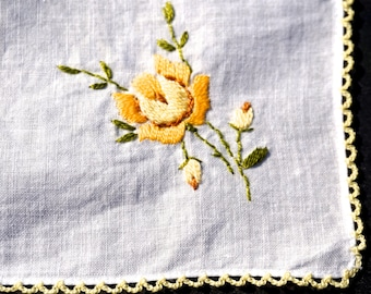 Vintage Embroidered Hanky,White Hanky with Purple, Yellow or Pink flower & Crocheted Trim,Wedding Favor,Bridesmaid Gift,Flower Girl Hanky