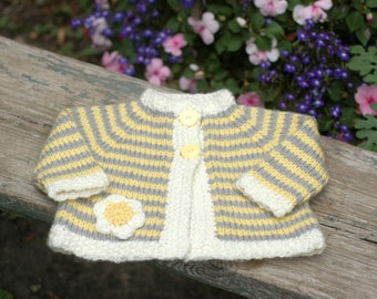 Striped Baby Cardigan With Flower Motif - Soft Washable Merino - Sized for 6 to 9 Months