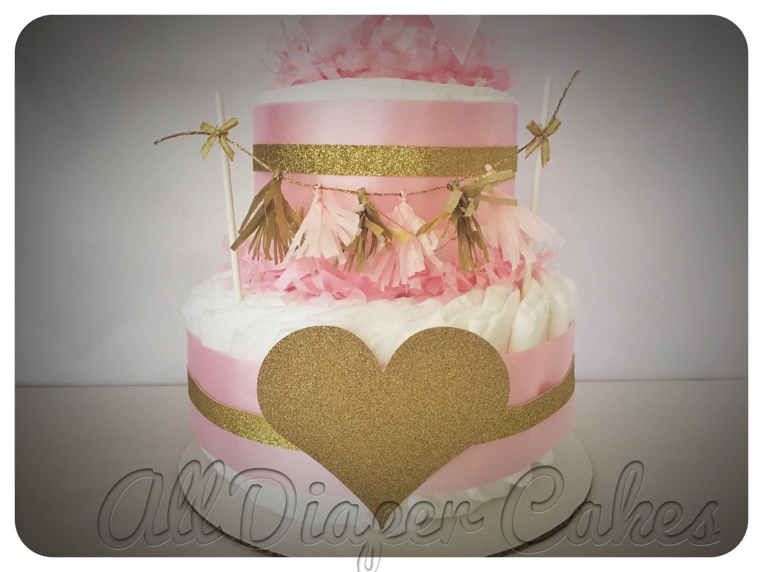 pink and gold heart diaper cake pink and gold by alldiapercakes