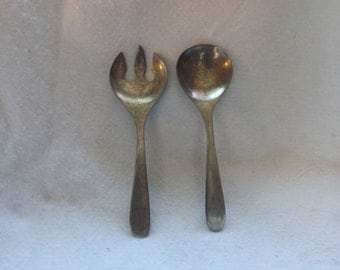 SALE- Vintage Large Heavy Pewter Fork and Spoon, Pewter Serving Utensils,  Pewter Salad Utensils - Serving Utensils -Large Fork and Spoon
