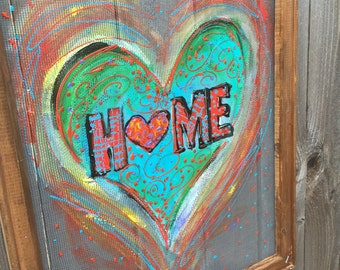 Home is where your heart is, window screen painting, colorful heart,whimsical heart
