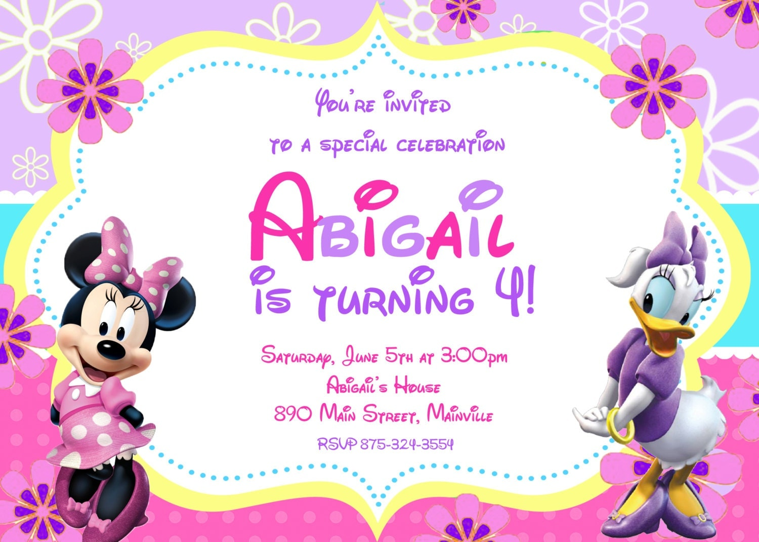 Minnie Mouse Daisy Duck Birthday Party Invitation Digital or