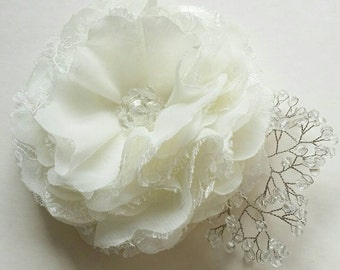 Ivory flower hair clip Flower for bride Bridal hair accessory