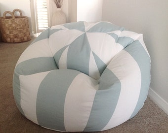 Bean Bag Coastal Cabana Stripes Seafoam Cover Adults Kids Bags Nautical