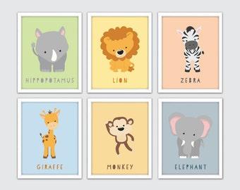 Jungle Animals Nursery Art, Safari Animals Nursery Art, Jungle Nursery Decor, Jungle Animals Wall Art, Safari Animals Wall Art Prints
