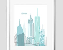 New York Teal printable, City Skyline print, Teal artwork, City silhouette, home wall decor, digital prints, INSTANT DOWNLOAD