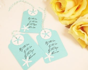Aqua Blue Wedding Favor Tag, Beach Wedding Gift Tag, Starfish Bridal Shower Tag, Turquoise Thank You Tag, Sand Dollar Tag, Starfish Bag Tag