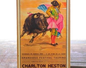 Charlton Heston 1960s Vintage Spanish Bullfight Poster