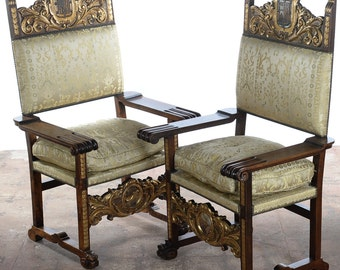 Renaissance Coat of Arm Large Side Chairs -a Pair