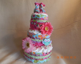 Bright Owls Diaper Cake for Girl