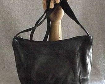 Vintage J.DUSERI Black Leather Satchel Medium Size HANDBAG Made in the USA