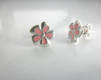 Enamel flower stud earrings - sterling silver flower studs - enamel flower stud - resin flower post earrings - stud earrings -