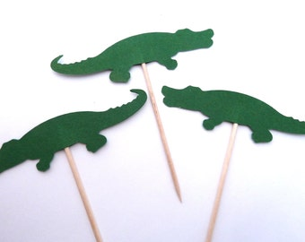 24 Alligator Cupcake Toppers, Boy Birthday Party, Green Reptile Food Picks, Theme Party Picks, Ships in 3-5 Working Days