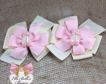 Ballet Pinwheel Bows~ ballerina double pinwheel hairbows, piggie set