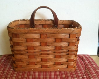 Handmade Amish Reed Woven Mail Basket in Cherry - Signed - #6247