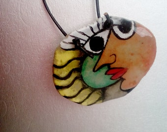 paper mache hand painted pendant, unique, abstract, for her