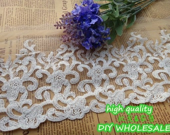 Cotton Tulle Lace Trims White Embroidery Lace Fabric for Sewing, Costume, Supplies 14cm wide