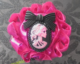 Lady Death Skeleton Cameo on Metallic Hot Pink Shabby Hair Flower