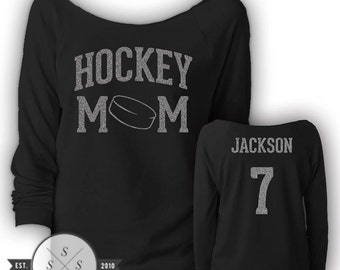 Customized Hockey Mom Ladies' Terry Raw-Edge 3/4-Sleeve Raglan Shirt
