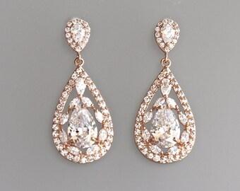 Rose Gold Bridal Earrings, Crystal Teardrop Earrings, Pink Gold Earrings, Wedding Earrings, Vintage Wedding Jewelry, ISABELLA RG