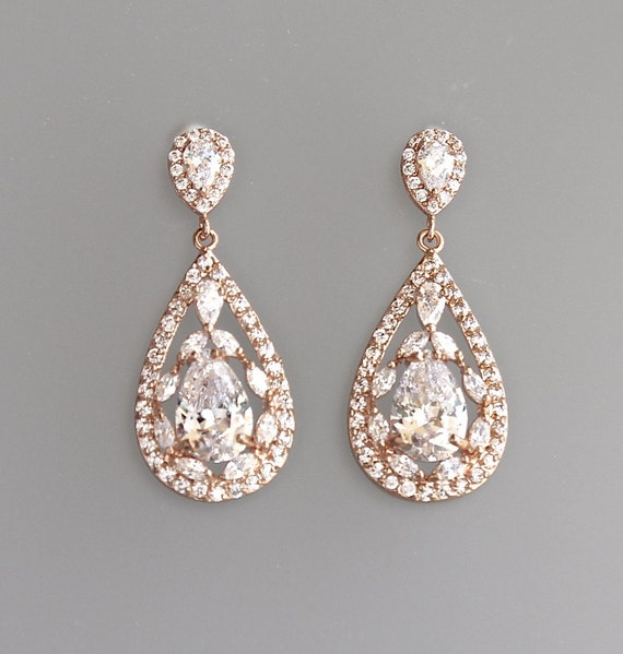rose gold bridal earrings crystal teardrop earrings pink. Black Bedroom Furniture Sets. Home Design Ideas