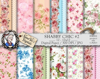Shabby Chic Digital Paper: Roses, Victorian, Vintage, Pinstripes, Backgrounds Scrapbooking Printable Shabby Chic Blue / Green / Pink / Peach