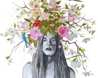 Lady With Branches Print 12x18