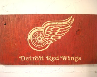 Detroit Red Wings Sign - wooden red wings flag - wood detroit sign - wood red wings sign - outdoor red wings sign - detroit flag - outdoor