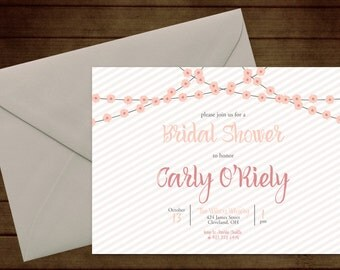 Printable Floral Garland Bridal Wedding Shower Invitation-Print Yourself-Digital Invite