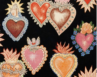 Heart and Soul Fabric, Alma y Corazon 100% Cotton Fabric, Black by Alexander Henry Hearts with Flames, with Roses, Praying Hands