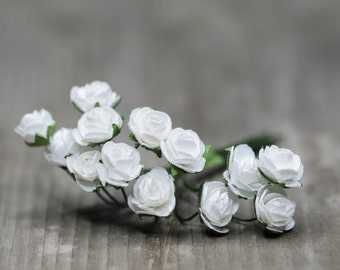 24pics White Miniature Flowers, Flower Stem, Artificial Flower, Fake Flower, White Roses, Flower for Bouguet, Wedding Decor, Floral Findings