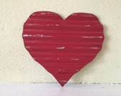 waved metal heart, small, hand painted Red, home decor