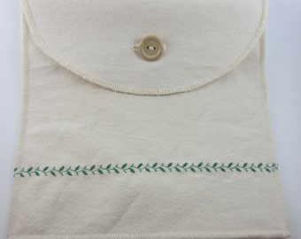 Sandwich Bag / Snack Bag in Reusable Organic Cotton ~ The Vine and Leaf