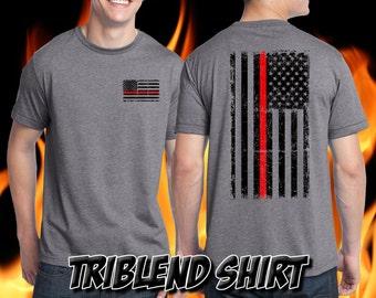 Thin Red Line Firefighter Shirt - Remember the Fallen Tri Blend Shirt Fire Department