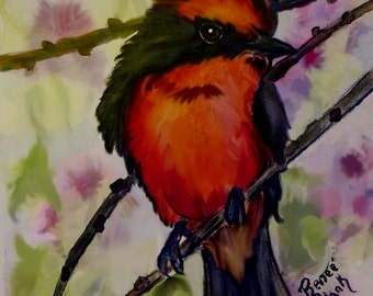 "This is a print of my original watercolor painting titled ""  Vermilion Flycatcher"". 5x7,8x10,11x14,16x20, wrapped canvas, note cards"