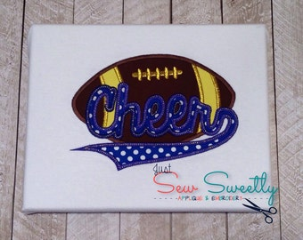 Cheerleading Football Applique Design - Embroidery Machine Pattern - Cheer