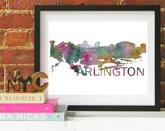 Arlington Art, Arlington Skyline, Arlington map, Arlington wall art, Arlington map print