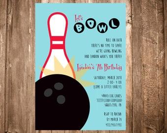 Bowling Party Digital Invitation Retro