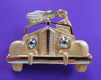 Hard To Find/AJC Woman Driving Convertible Car With Hair Blowing In Wind Brooch Pin