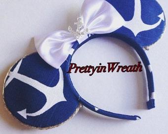 Anchor inspired Mickey Mouse ears headband