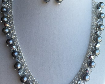 Dark Silver-Gray Pearl and Crystal
