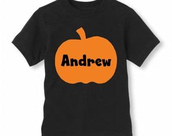 Boys Pumpkin Shirt, Boys Monogram Fall Shirt, Boys Monogram Pumpkin Decal, Monogrammed Autumn Fall Pumpkin Shirt, Boys Pumpkin Shirt