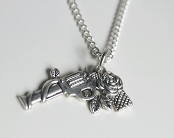 Rose Gun Necklace Quirky Jewellery