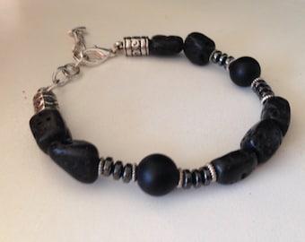 TEKTITE BRACELET (B038) with black onyx and hematite bracelet, stone bracelet
