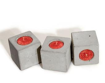 Cubic Concrete Votive Candle Holder - (Set of 3)