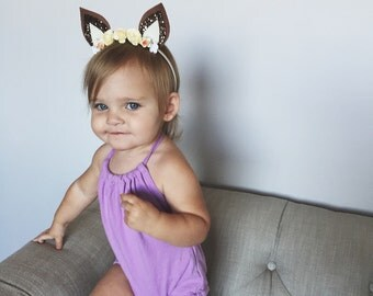 Fawn ears//headband//crown//flowers//halloween//birthday//baby//toddler//child//adult