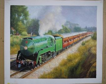 Custom original oil painting-Hand painted train railroad landscape-Realistic landscape oil portrait painting-Complex scenery painting