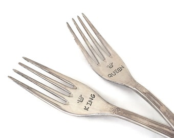 2 x fork (big) food fork KING - QUEEN with Crown