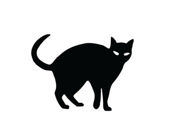 1 Black Cat- Decal Sticker - Indoor or Outdoor - FREE SHIPPING