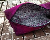 Harris Tweed, liberty of London, Fucshia check, makeup bag, pencil storage, accessory case